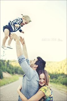 Note from prev pinner: We always get the shot of the dad throwing the kid in the air, but I love this idea of how to get the mom in on it too!