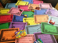 Candy Awards- funny puns on the candy names for quick awards for the end of the year.