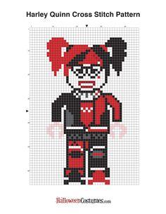 Feeling crafty, puddin'? Free Lego Batman Cross Stich Pattern - Harley Quinn