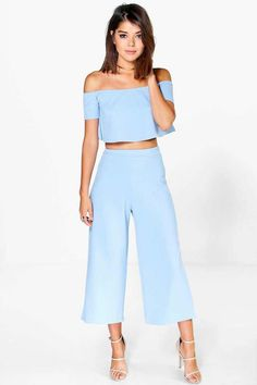 Off The Shoulder Top And Culotte Co-Ord Set, Summer Outfits, Co-ordinates are the quick way to quirky this season Make way for the matchy-matchy trend this season as style gets streamlined with co-ord sets. Blue Dress Outfits, Summer Outfits, Dress Summer, Blue Dresses, Classy Outfits, Casual Outfits, Cute Outfits, Look Fashion, Fashion Outfits