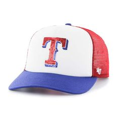 01ecee6762c4f Texas Rangers Women s 47 Brand Red Glimmer Captain Adjustable Hat