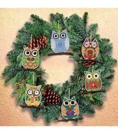 Janlynn Counted Cross Stitch Kit Owl Ornaments
