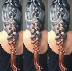 Granny Silver/ Grey Hair Color Ideas: Sunset Metallic Ombre Silver Hair