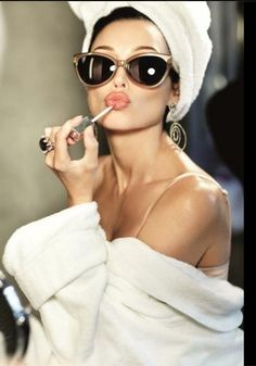LOVE THIS!!!! Audrey Hepburn style! Cat eye sunglasses, lipgloss, bathrobe and hair towel...