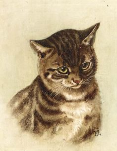 Ernest Lawson (1873-1939, Canada) - Portrait of a Cat. Based upon a work by Helena Maguire...