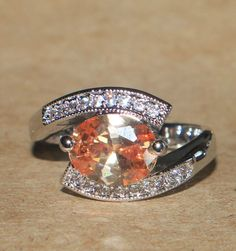 topaz Cz ring gemstone silver jewelry Sz 8.25 chic modern cocktail engagement BD #Cocktail