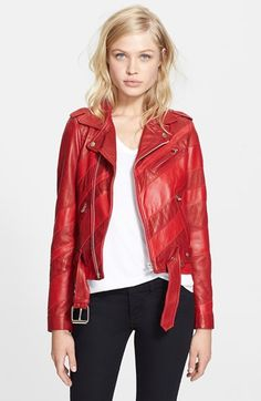 Free shipping and returns on EACH X OTHER 'Maripol' Stripe Leather Biker Jacket at Nordstrom.com. Two head-turning red hues color this diagonally striped leather biker jacket tempered by classic moto styling.