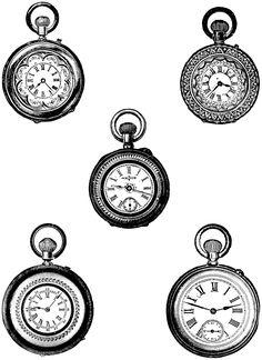 Free Clip Art - Vintage Pocket Watch
