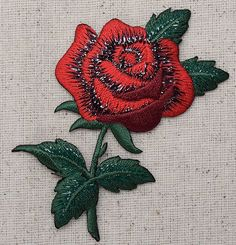 Iron On Embroidered Applique Patch Large Single Red Rose Green Leaves 153101A