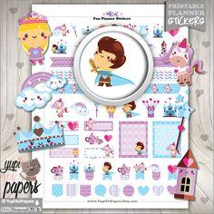 Magic Stickers, Planner Stickers, Printable Planner Stickers, Princess Stickers, Kawaii Stickers, Planner Accessories, Erin Condren