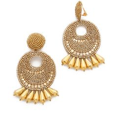 Kenneth Jay Lane Statement Earrings ($100) ❤ liked on Polyvore featuring jewelry, earrings, gold, statement earrings, gold beaded jewelry, gold statement earrings, gold jewellery and beading jewelry