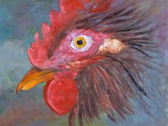 Rooster Portrait Painting by Nancy Merkle; Original and Fine Art Reproduction Prints and Posters for Sale