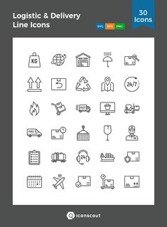 Logistic & Delivery Line Icons  Icon Pack - 30 Line Icons