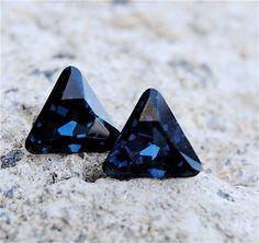 Navy Blue Deltas Swarovski Crystal Stud Earrings. $26.50, via Etsy.  @Delta Delta Delta Fraternity