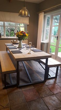Large Reclaimed Wood Whitewashed Dining Table and Benches - www.reclaimedbespoke.co.uk