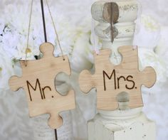Unique Mr and Mrs puzzle pieces (hang from chairs)...they fit together perfectly...