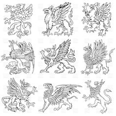 Illustration about Vectorial pictograms of most heraldic monsters - gryphons, executed in style of gravure on wood. No dlends, gradients and strokes. Illustration of monster, engraving, pictogram - 20287886 Fantasy Creatures, Mythical Creatures, Gryphon Tattoo, Griffin Tattoo, Drawing Sheet, Pictogram, Coat Of Arms, Ancient Art, Cool Artwork