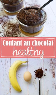 Healthy chocolate coulant, without refined sugar and without gluten, with only 3 ingredients: banana, egg, cocoa / Express recipe and greedy on the Godiche – www. Diabetic Recipes, Raw Food Recipes, Cake Recipes, Dessert Recipes, Healthy Recipes, Healthy Sugar, Chocolate Pies, Healthy Chocolate, Healthy Desserts