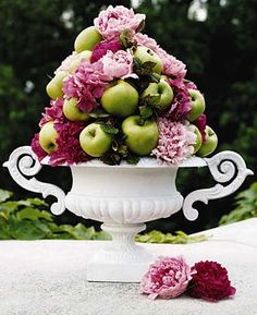 Brabourne Farm:  mixed floral & fruit centerpiece in painted urn