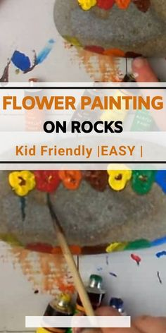 How to paint flowers on rocks and pebbles with your fingers. Great fun for kids of all ages