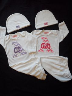 Twin Girls Take Home Outfit  Chevron Baby Monogram by LilMamas, $58.00