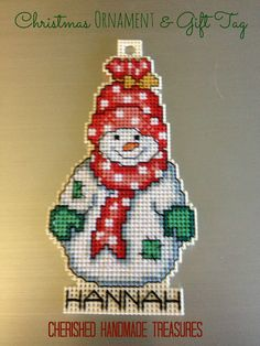 Cross Stitch Gift Tag and Christmas Ornament | Cherished Handmade Treasures