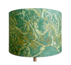 Linen Squash Drum Lamp Shade in Olive Emerald by BelfastBayShadeCo