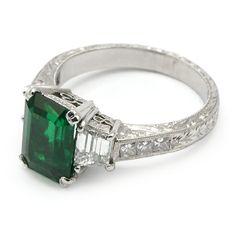 emerald cut emerald and diamond ring | Columbian Emerald-Cut Emerald Ring - Gemstone Jewelry | Wixon Jewelers