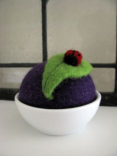 Ladybug on a Leaf Needle Felted Pincushion