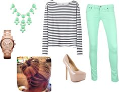 """Mint green pants"" by beachbum1200 on Polyvore"