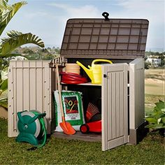 Keter Mini Store it Out Woodland 30 Plastic Garden Storage Box Brown & Beige - 845 Litre Capacity