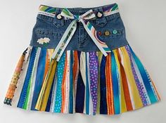 The Daily Blog - selvage skirt/old pr. jeans  http://www.thequiltshow.com/os/blog.php/blog_id/5452