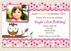 Owl birthday party Invitations by LollipopPrints on Etsy, $10.00
