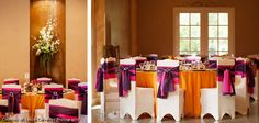 Chateau Polonez - Vibrant orange linen, plum, fuschia sashes with a hint of blink, ivory spandex chair covers, Photos by Leslie Cervantes