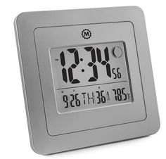 Marathon Digital Wall Clock with Moon Phase, Alarm, Temperature, Calendar Date | Wall or Stand | Place in Any Room to Enhance The Decor - Batteries Included Digital Wall, Digital Alarm Clock, Best Wall Clocks, Calendar Date, Moon Phases, Graphite, Marathon, Dating, Grey