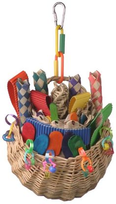 Super Bird Creations 10 by Foraging Basket Bird Toy, Medium - Product Description: This sturdy wicker basket is filled with colorful wooden popsicle sticks, ice cream spoons, wo Diy Bird Toys, Bird Crafts, Parrot Toys, Parrot Pet, Natural Toys, Homemade Toys, Cockatiel, Cute Birds, Toy Sale