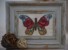 Stitched, framed fabric butterfly