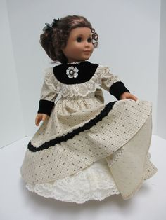 1800's Cotton Black and Cream Dress for by karenstinytreasures