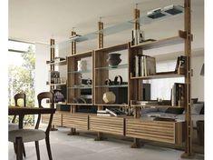 Double-sided divider walnut bookcase E-110 | Bookcase by Dale Italia