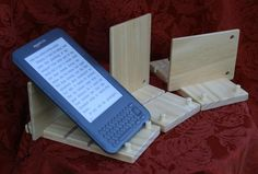 Tablet Stand, iPad Stand, Kindle Stand, Nook Stand, eReader Stand, Wood Stand with Natural Finish and Button & String Closure, Adjustable.
