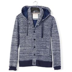 Banana Republic Heritage Blue Hooded Knit Jacket Size L (98 CAD) ❤ liked on Polyvore featuring tops, hoodies, men, banana republic hoodies, long sleeve hoodies, banana republic tops, long sleeve tops and long sleeve knit tops