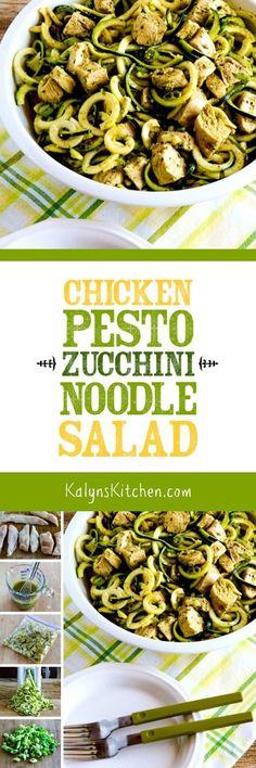 Chicken Pesto Zucchini Noodle Salad