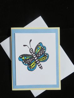 Butterfly greeting card blue and yellow hand by MitchiesGalleria