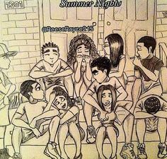 summer nights, chill, and friends image