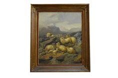 """William Sidney COOPER (1854-1927) """"Rebanho de Carneiros"""", o.s.t. - 76 x 63 cm."""