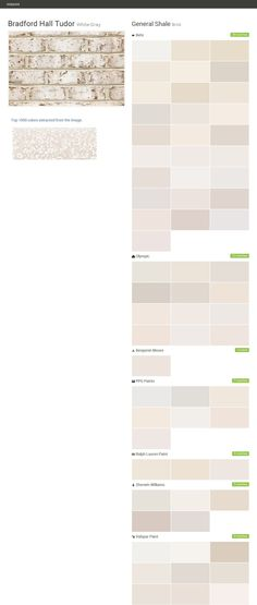 Bradford Hall Tudor. White-Gray. Brick. General Shale. Behr. Olympic. Benjamin Moore. PPG Paints. Ralph Lauren Paint. Sherwin Williams. Valspar Paint.  Click the gray Visit button to see the matching paint names.