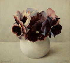 Still life with pansies by Jan Voerman jr. (Dutch, 1890-1976) 1950.
