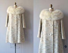 Lilli Ann coat • 1960s fox fur collar coat • vintage 60s wool coat