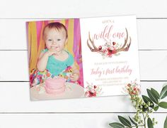Photo Birthday Invitations, Wild Ones, Antlers, First Birthdays, Watercolor, Unique Jewelry, Handmade Gifts, Frame, Floral