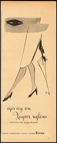 1946 vintage stockings  ad, Kayser Nylons, nice art -021213 | Collectibles, Advertising, Clothing, Shoes & Accessories | eBay!
